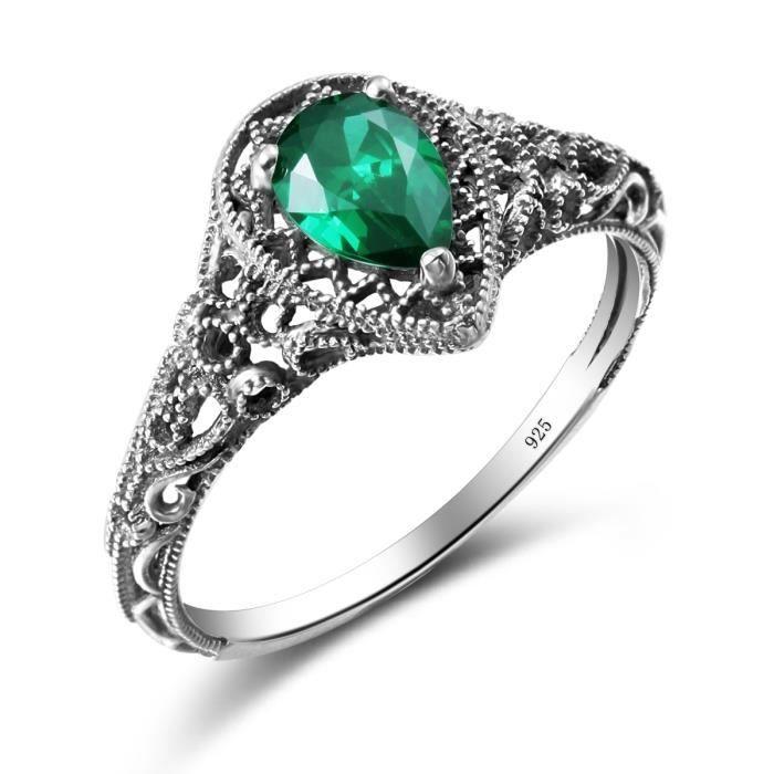 évider bague de émeraude 3 griffe 1000,925 argent mariage style gothique  anneaux du parti pour les bijoux de mode femme