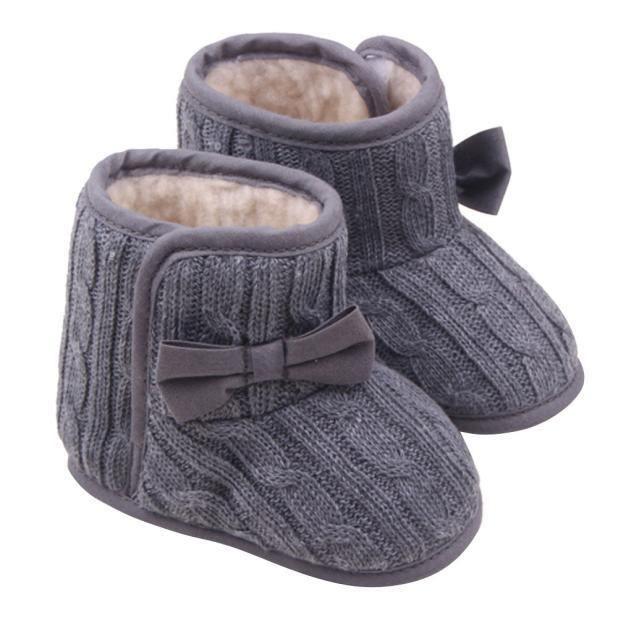 Bébé bowknot doux semelles chaudes chaussures d'hiver bottes gris