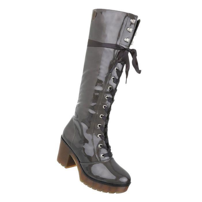 Chaussures femmes bottes laçage gris 41