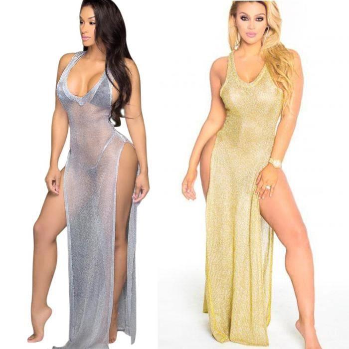 2017 mode boîte de nuit fente robe de laine,or,L