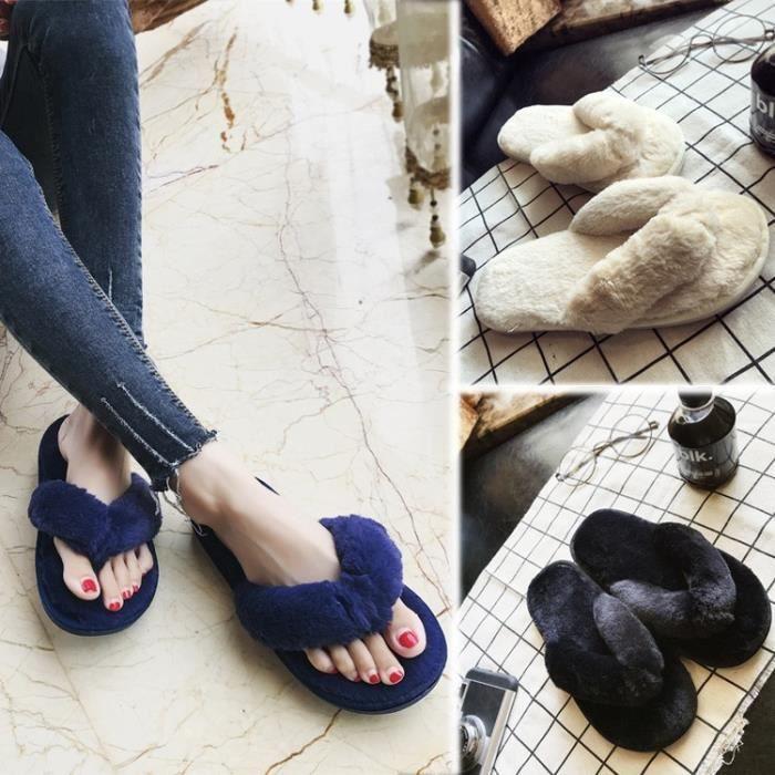 2017 automne et hiver les femmes de chambre pantoufles chambre luxe de la fourrure à l'intérieur en peluche chaud chaussures plates kvTNgW1M