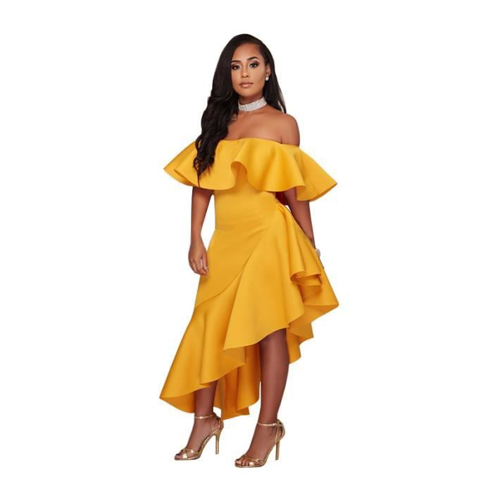 2b8bb7676a8271 Robe femme longue Ruffle slim fit sexy Jaune SIMPLE FLAVOR Jaune ...