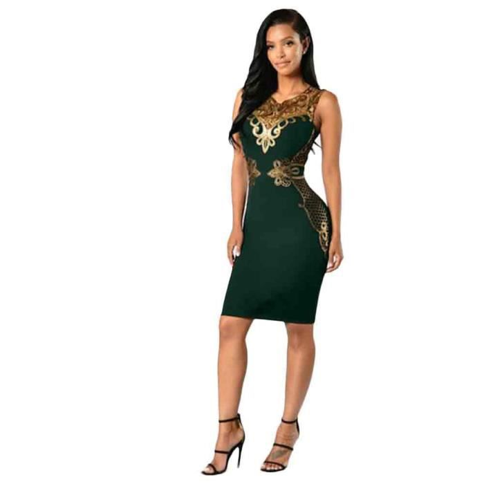 e6d17a1dd09 dedasing® femme Robe moulante en dentelle Slim manches Soirée Mini Robe  crayon vert