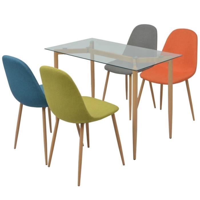Ensemble De Salle A Manger Table Avec Chaise Cinq Pieces Multicolore
