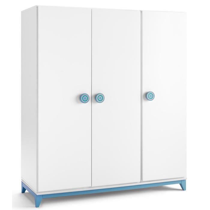 Armoire de rangement en bois avec 3 portes coloris blanc-bleu - Dim ...