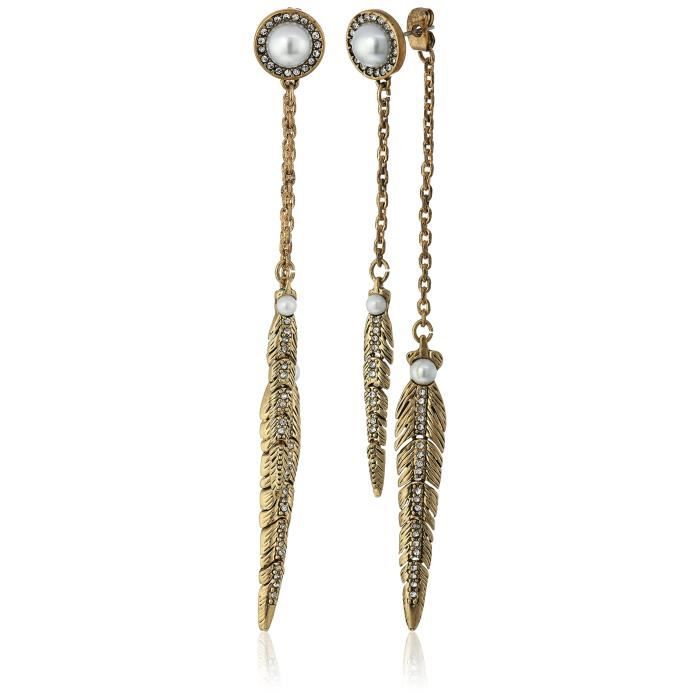 Rebecca Minkoff Antique Gold With Pearl Feather Front Back Drop Earring AZLH5