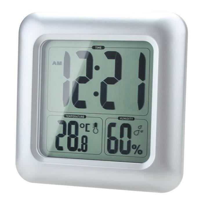 Humidité LCD résistant douche horloge salle de bain cuisine murale ...