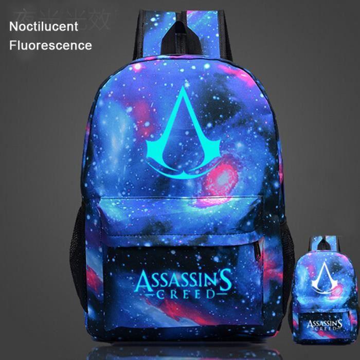 Assassin's Creed-Sac à dos Noctilucent Fluorescence-cartable-cadeau Noël anniversaire pour fils et fille,sac d'école
