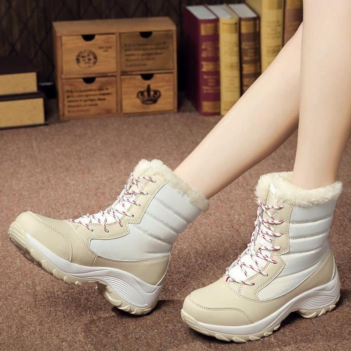Botte Femme Femmes Tendance chaud New Design Ajouter en laine blanc taille38