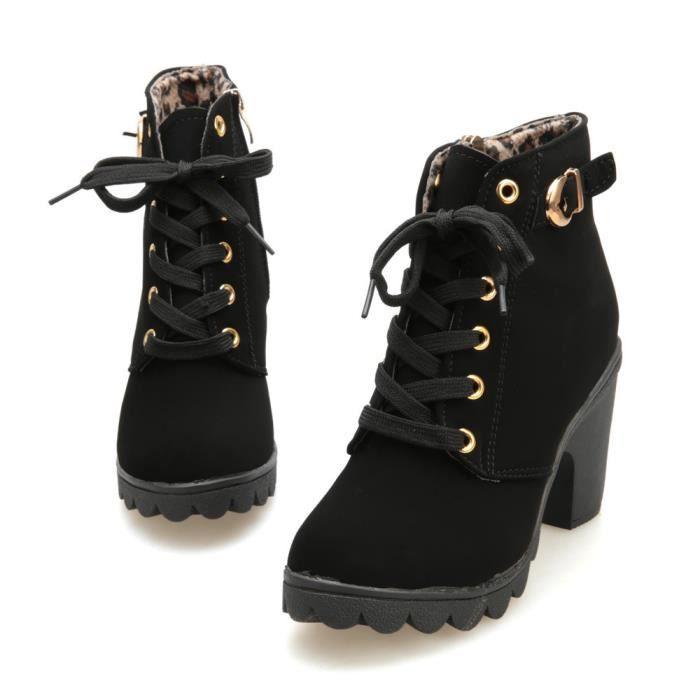 Mode féminine haut talon lacent bottines dames chaussures plate-forme boucle