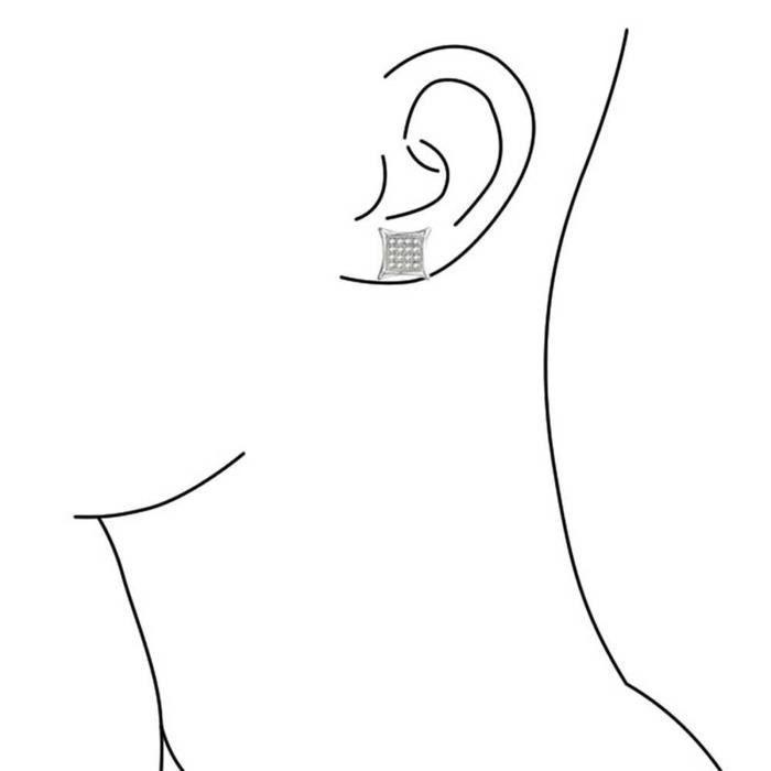 Clous DOreilles En Argent Massif Cadrillés De Mini Zircones 11Mm
