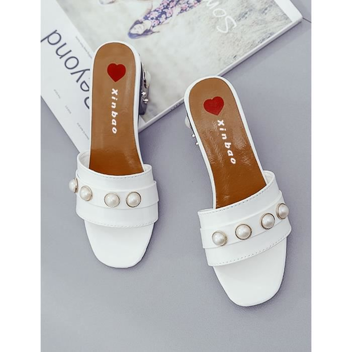 Chaussons Faux Pearl Embellished Mid Heel Slide