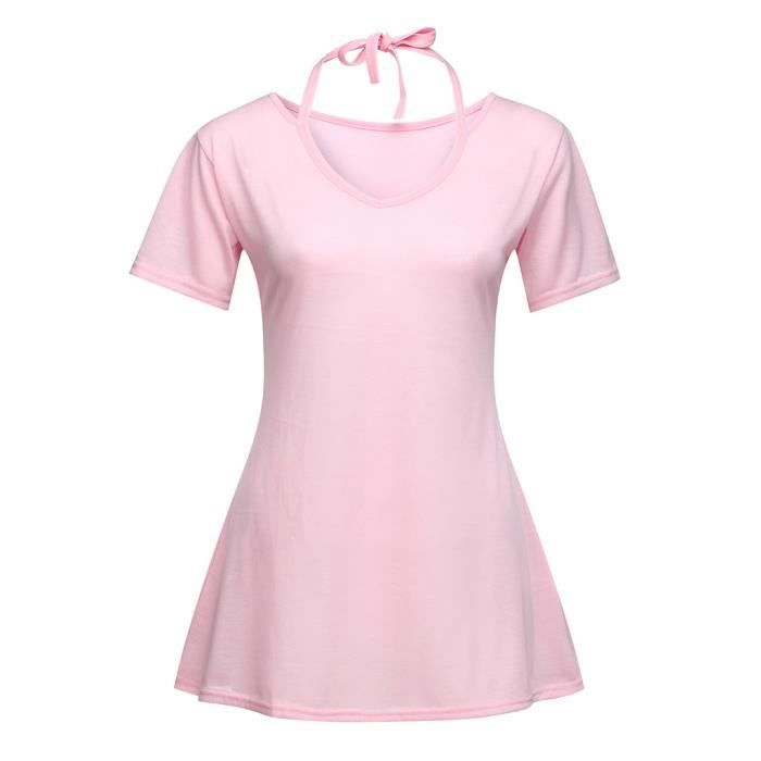 V En Solide Mode Femmes Évider Manches Rose shirt Col Chemisier Courtes Top Casual T wnRqYH6Sx
