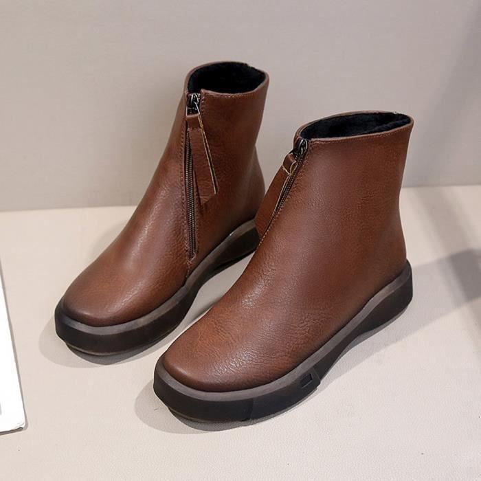 De Bottes Épaisses Chaussures Boots Mode gg Courtes marron Martin Plates Femmes L'étudiant UwAfp