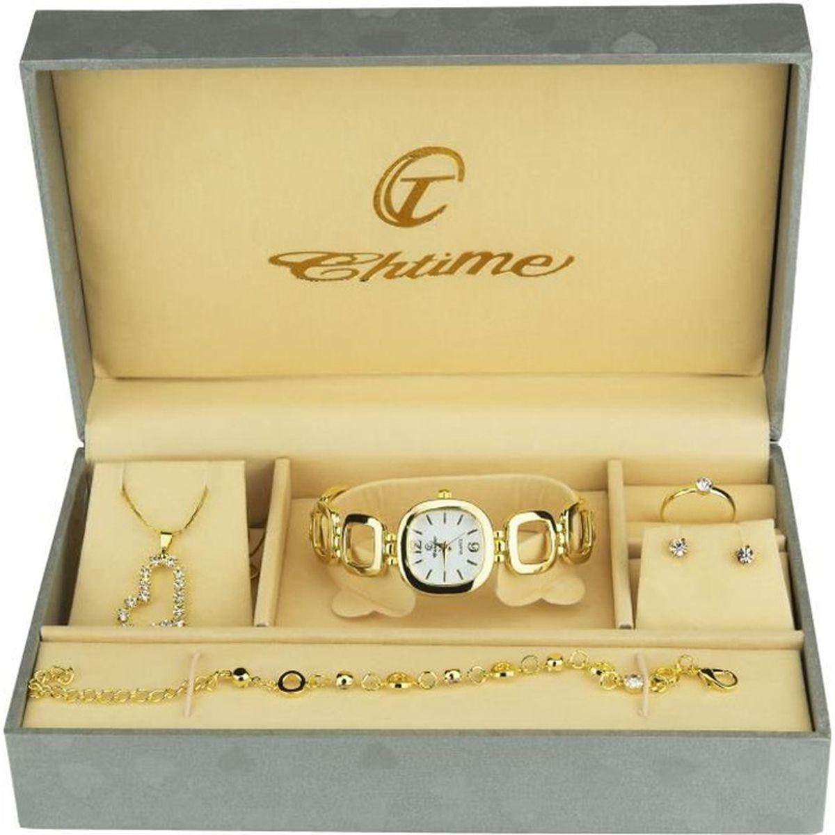 ef93e2b3fedcb Coffret cadeau Montre Femme Or- Parure de Bijoux- Collier-Bague- Boucles  d'oreilles - Bracelet