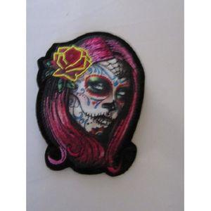 ACCESSOIRE CASQUE petit patch tête de femme mexicaine calavera rose