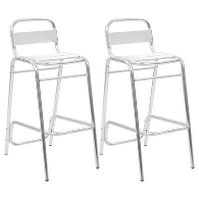Chaises De AluminiumArgent Et 2 Pcs Meublesfauteuilstabourets Empilables Bar XZN0Pnk8wO