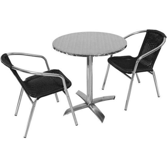 Salon de jardin - table ronde de terrasse et 2 chaises ...