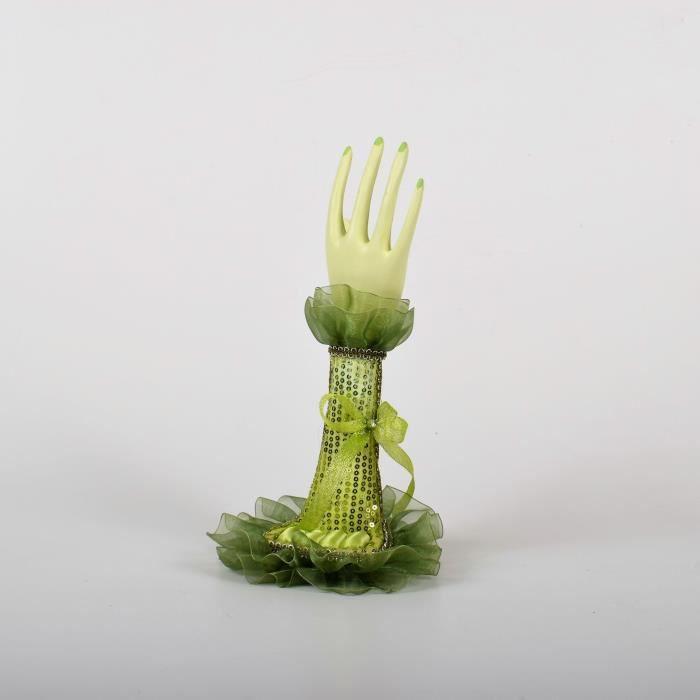 Porte bijoux en forme de main - H 28cm - Vert