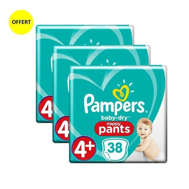 PAMPERS Baby Dry Pants Taille 4+, 9-15 kg, 38 couches culottes x3