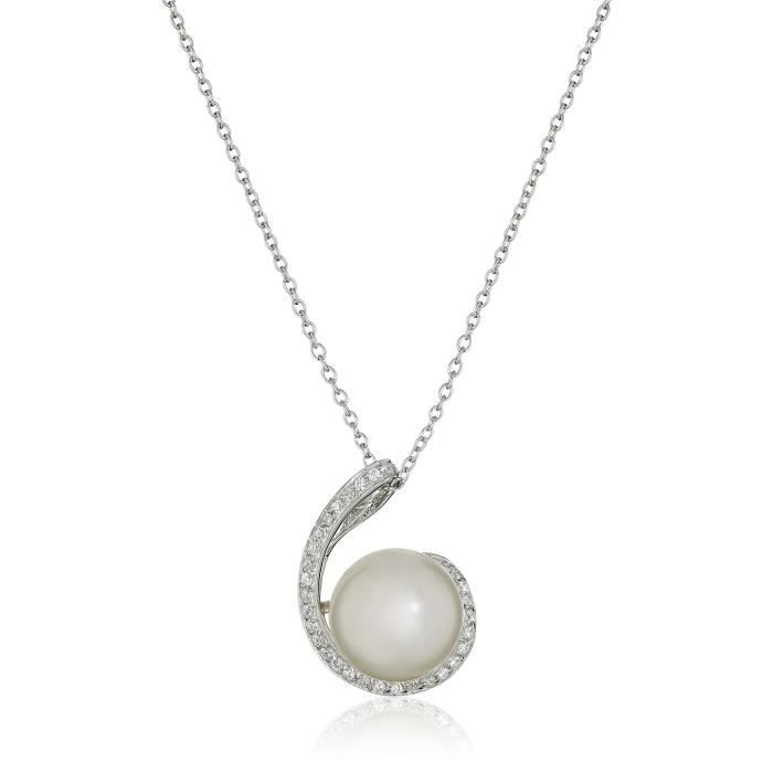 Swirl Cubic Zirconia Pearl Pendant Necklace, 17 JJQNT