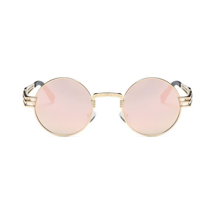 Lunettes de soleil rétro femme ronde lunettes de Miroir Aviator Voyage @Lunette 484