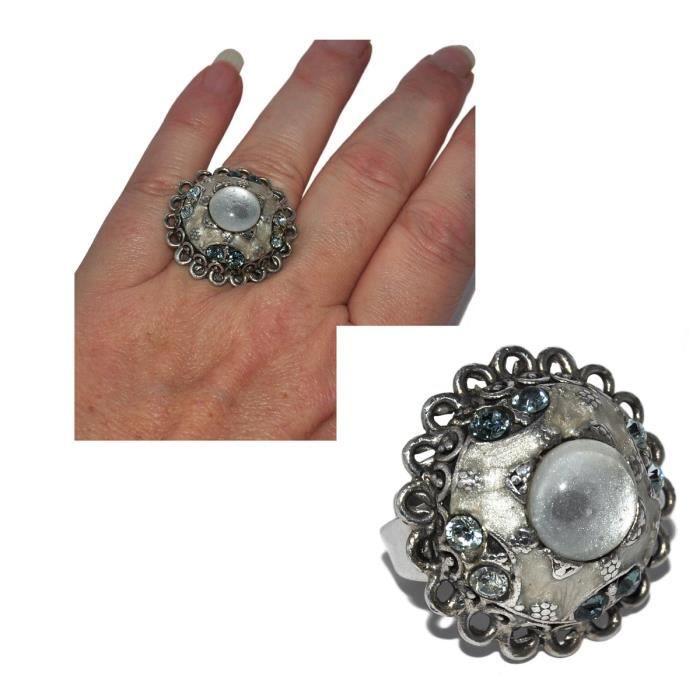 Bague Chorange plaqué argent cristal bleu gris email taille réglable
