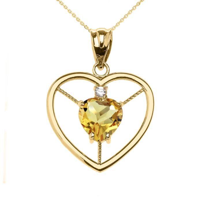 Collier Femme Pendentif Élégant 10 Ct Or Jaune Citrine et Diamant Solitaire Cœur (Livré avec une 45cm Chaîne)