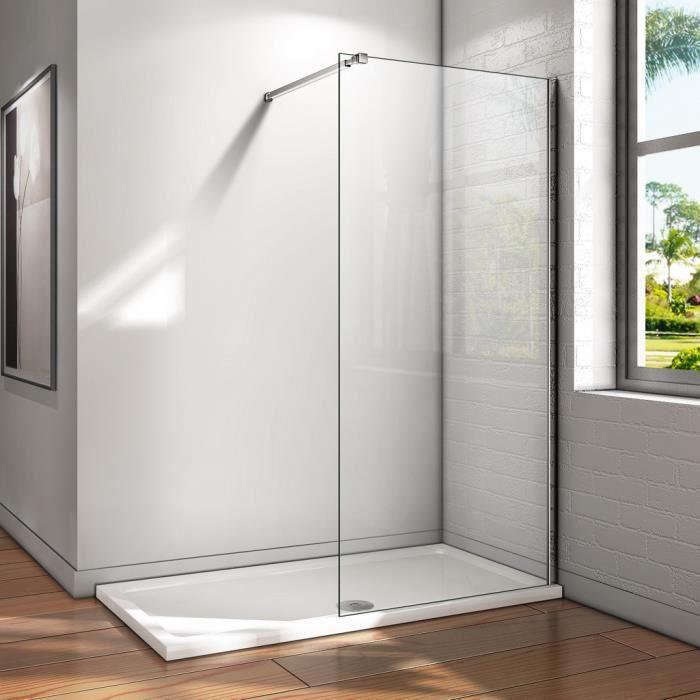 80x200cm paroi de douche paroi fixe transparent 8mm verre tremp vitrification nano. Black Bedroom Furniture Sets. Home Design Ideas