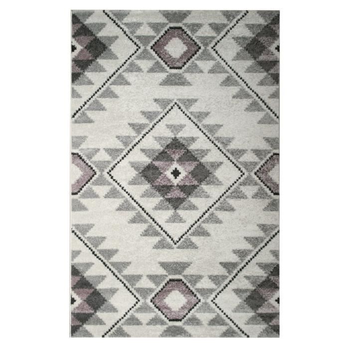 Tapis de salon contemporain TOSCANE Crème, gris et rose 160x230cm ...