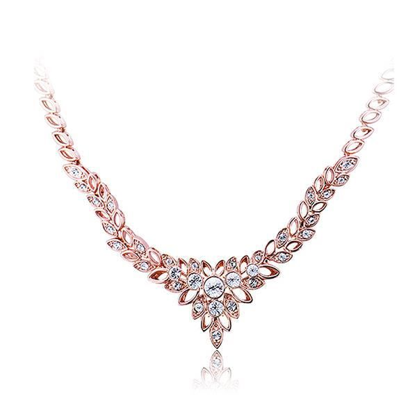 Glamorousky luxe plaqué or rose collier blanc zircon cubique (23843)