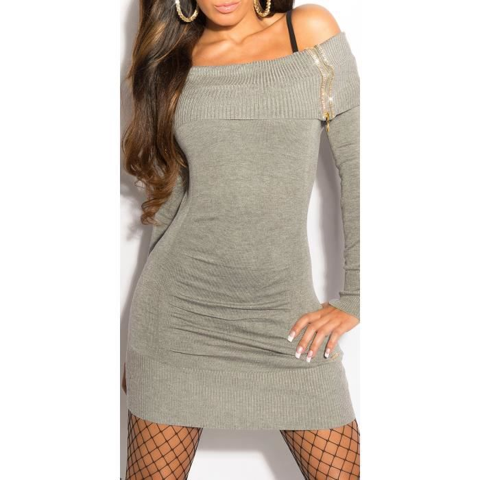 b603802d2c5 ROBE   PULL LONG SEXY TUNIQUE STRASS GRIS - Achat   Vente pull ...