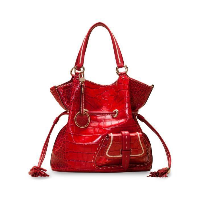 b8ce2b7991 Sac à main LANCEL modèle Premier Flirt façon croco petit rouge ...