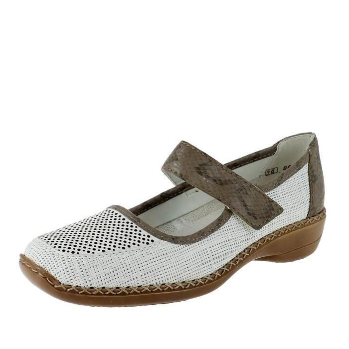 Rieker 41306 blanc - Chaussures Ballerines Femme