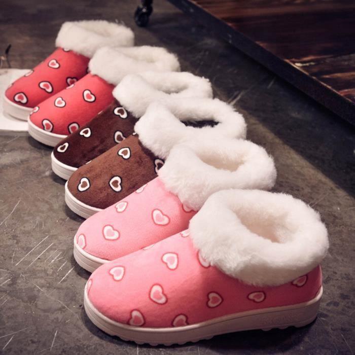 Le modèle en forme de coeur femmes chaudes Flats chaussures bottes de neige automne hiver chaussures