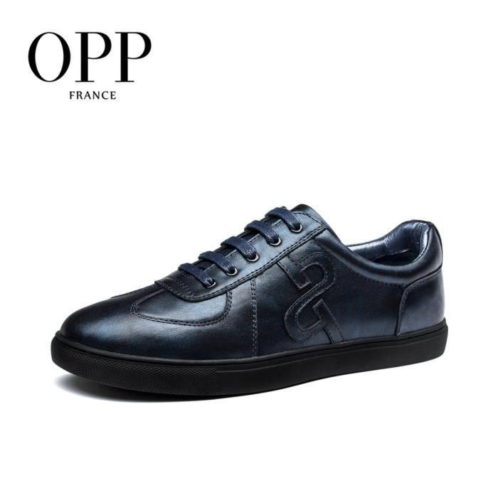 JOZSI Chaussures Homme Cuir Confortable mode Homme chaussure de ville BJYG-XZ210Noir43 zS1cf