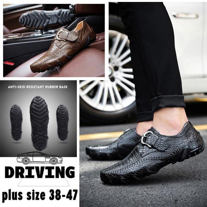 94e572f1f3b8f4 chaussures multisport Homme de conduited'affaires respirante Mocassins en  cuir décontractée avec Buckles marron taille40
