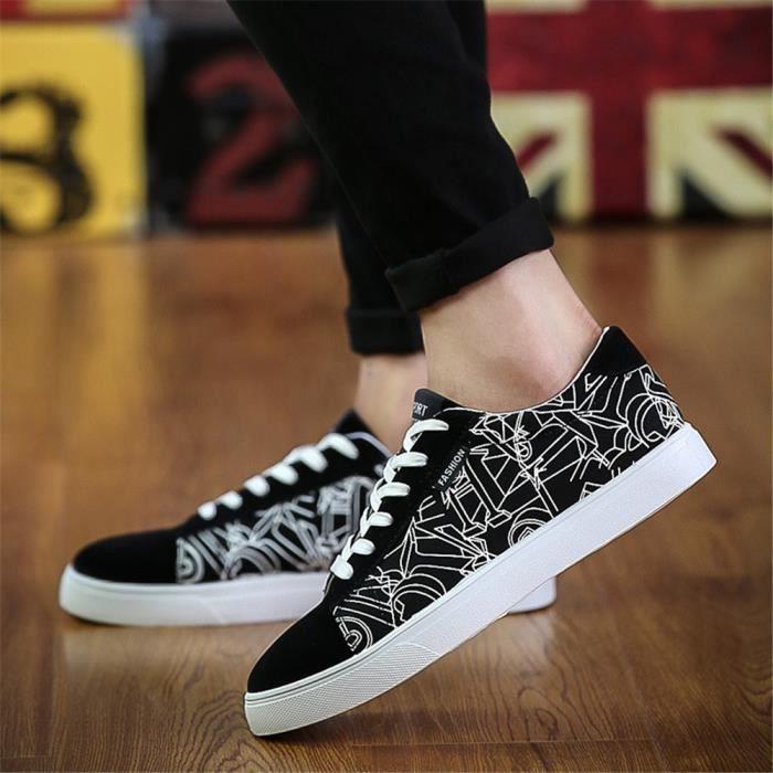 Sneakers hommes Courroies Beau Chaussure pour homme irrégulierGraffiti Mode chaussures résistantes à l'usure léger version GN8Pu8BJu