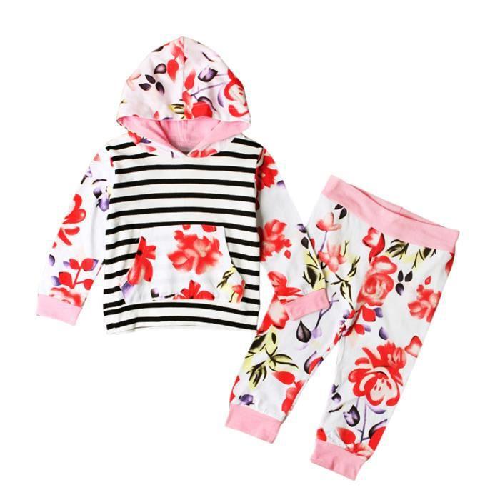 cb8a3074c4ae5 1-5 Ans Fille Pyjama à Fleurs Bébé Enfant 2 Pcs Ensemble de Vêtement ...