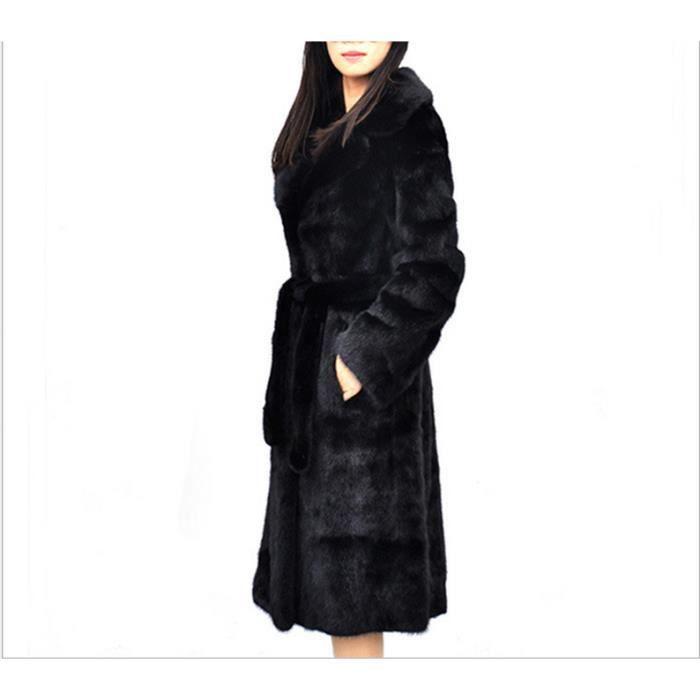 acheter en ligne f2b3a 40d27 Manteau de fourrure imitation vison fourrure costume ceinture Slim long  vison manteau plus la taille XS-6XL