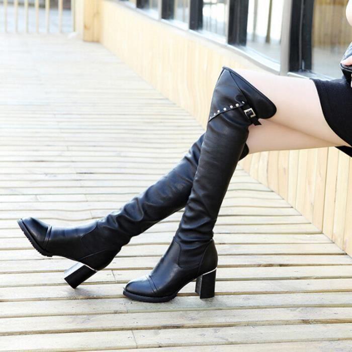 Sidneyki®Femmes Bottes Au-dessus du genou à talons hauts Hiver Automne Slip-on Loisirs Chaussures BKNoir WE86