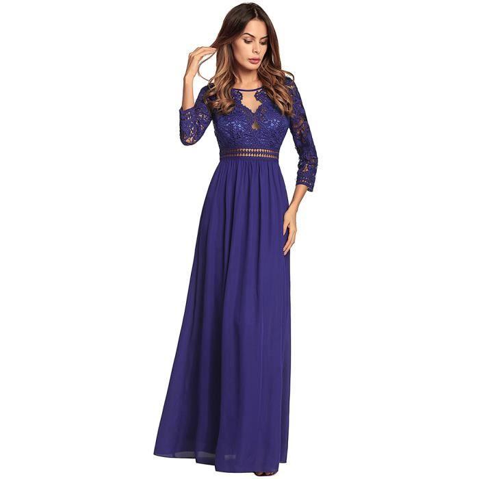 caa72c15b89ee ROBE DE CÉRÉMONIE Longue robe de dentelle florale des femmes manches