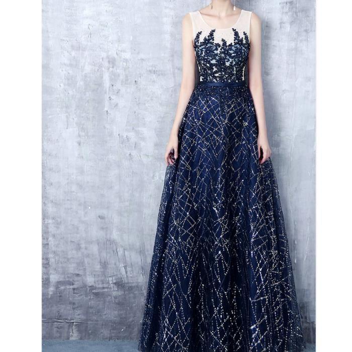 652654f503a Nouvelle élégante soirée d anniversaire bleu marine paillettes robe de  soirée
