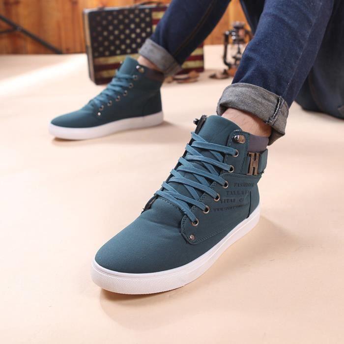 Frankmall®Mode Oxfords Loisirs bottes haut de basket Sneakers pour hommes Vert NYZ71007901GN Se974XKS