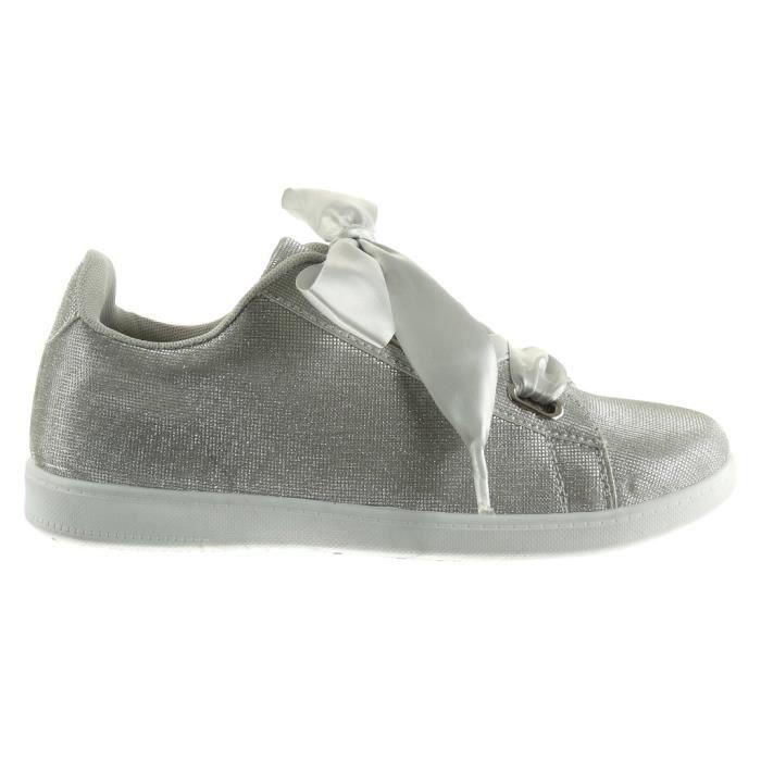 Satin Dentelle Formateurs Chaussures Cm Taille De Sneaker 3ses79 Sole 2 38 Talon La Femme Mode Plat 0xHqS