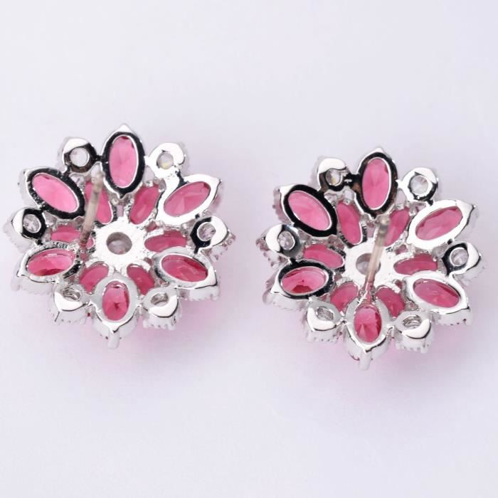 Womens Cluster Crystal Teardrop Flower Design Stud Earrings Fine Jewelry For Valentines Day GiftsJQD5V