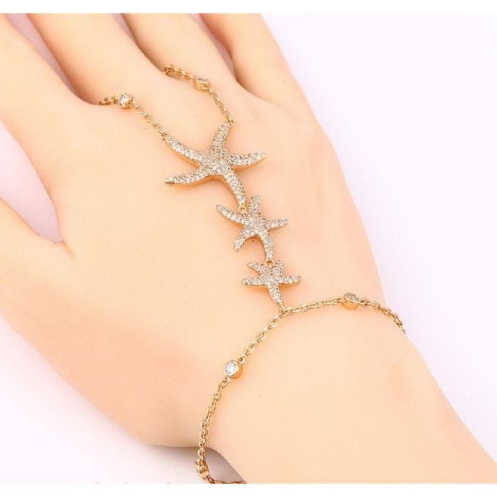 LORELYS - Cadeau Damour - Bracelet Trois Etoile de Mer Incrustée De Cristaux Transparent Plaqué Or