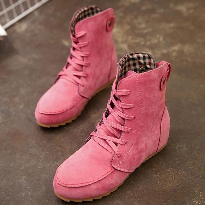 Cuir Femme Moto Bottines rose Femme Plat bottes Pour Lafayestore Talon Zf19571 De Vif qaz8WU