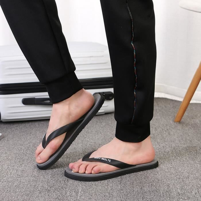 Flip 3394 Noir Flops Outdoors Heel Round Toe Flat xie Fashion Beach Shoes Men Slipper 6q4wYx