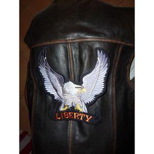 ACCESSOIRE CASQUE grand patch dorsal aigle gris  liberty de face, bi